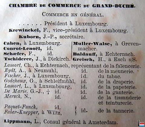 Papeteries usines de papiers peints fa enceries lamort for Chambre de commerce de luxembourg