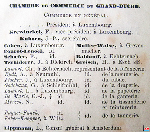Les industries de la famille conrot luxembourg for Chambre de commerce du luxembourg